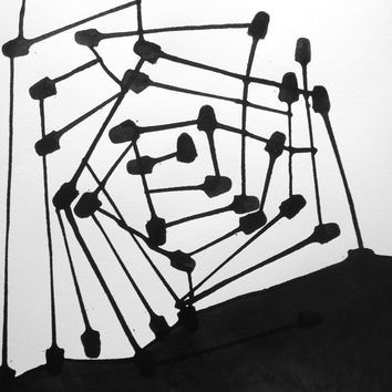 "14 x 14 Modern Fine Art Abstract OOAK Black and White Hand Painted Ink Painting ""  Satellite 1086"""