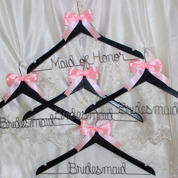 Bridesmaid gifts,  bridesmaid hangers,  custom hangers,  bridesmaids gift, bridal hanger,  wedding hanger,  wedding dress hanger, set of 5