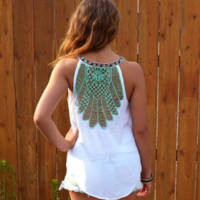 Floral Embroidery Round Neck Summer Tank Top