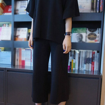 V-Neck Bat Sleeve Top + Loose Pants Suit