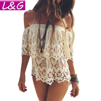 Boho Elegant Off Shoulder White Lace Crochet Hollow Out Cropped Blouse Women Summer Beach Tunic Crop Tops Girls Shirt 40483