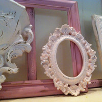 Shabby Chic Vintage Frame Set, Pale Pink Decor, Nursery, Open Frames, Gallery Wall Frames,Wedding, Chippy, Girl Decor