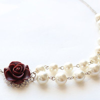 2 rows pearl necklace with burgundy rose resin flower cabochon bridal jewelry bridesmaid necklace maid of honor wedding gift ivory or white