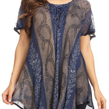 Sakkas Amanda Flowy Summer Casual Blouse Top Stonewashed with Embroidery & Corset