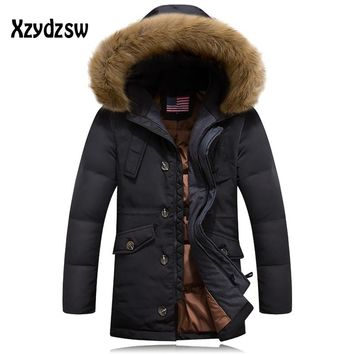 Men Down Coat Brand Clothing Long Section Warm Warm Casual Wear Cold Winter Jackets Mens napapijri  Collar Down Rlx Jacket