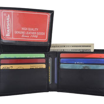 Ostrich Print Cowhide Leather Bifold Wallet with Flip ID window & Credit Card Slots 71053 OS