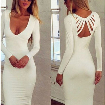 Stylish Sexy Deep V Hollow Out One Piece Dress [4919442436]