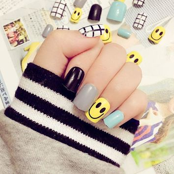 24pcs Children Acrylic Full Cover Nail Tip False Nail Art With Glue sticker Color Printing Smile Face Fake Nail Tips Fingernails