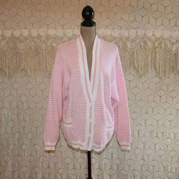 80s Women Plus Size 2X Pink & White Stripe Cardigan Sweater Cotton Cardigan Spring Pastel Preppy Sailor Nautical Vintage Plus Size Clothing