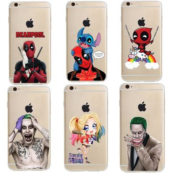 Deadpool and Stitch Suicide Squad Joker Harley Quinn Soft Clear TPU Phone Case Cover For iPhone X SE 5s 6S Plus 7 7 Plus 8 8Plus