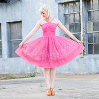 vintage 1950s pink dress / pink tulle dress / 50s party dress / 1950s dress xs / 50s dress vintage / 50s pink dress / pink party dress