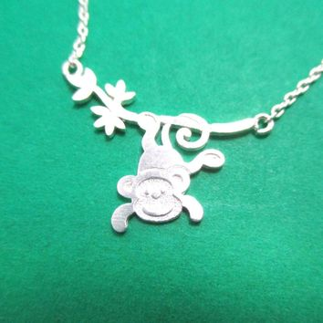 Cute Monkey Chimpanzee Dangling From Branch Shaped Pendant Necklace in Silver