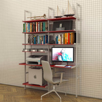 2 Bay All Aluminum Desk with Shelves