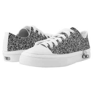 Silver Gray Black Texture Printed Shoes