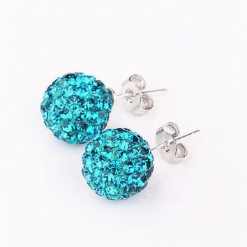 High Quality 10mm Hot Silver Round Crystal Ball Beads Jewelry Rhinestone Shamballa Earrings For Women