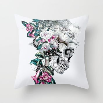 Momento Mori Rev V Throw Pillow by RIZA PEKER
