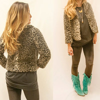 Womens Cheetah Coat | Size Small or Extra Small | Faux Fur Animal Print Cropped Jacket with Three Quarter Length Sleeves