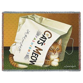 CAT'S IN THE BAG - WOVEN AFGHAN TAPESTRY THROW