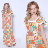 Vintage 70s PATCHWORK Maxi Dress Hippie Dress LACE Trim Dress Boho Dress