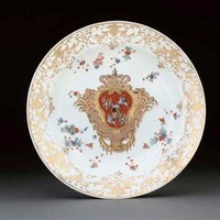 A MEISSEN DISH FROM THE 'CORONATION SERVICE' , CIRCA 1733-4, BLUE CROSSED SWORDS MARK, WHEEL-ENGRAVED JAPANESE PALACE INVENTORY MARK N=147- W, <I>DREHER</I>'S TO FOOTRIM
