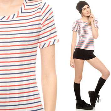 Striped TShirt 70s T Shirt Red White Blue Fitted 1970s Nautical Sailor Top Ringer Indie Hipster Retro Tee Vintage Stripe Extra Small XS