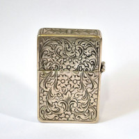 Gypsy Rose... Vintage Scrolled Etched Rose Pattern 800 Silver Working Lighter