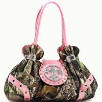 Studded Satchel Bag in Realtree ® Camouflage with Rhinestone Fleur De Lis