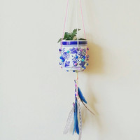 Hanging Planter, Vintage, Home Decor, Feathers, BohoChic, Room Decor, Boho Style, Home & Decor, Decor ideas, Bohemian Decor, Unique Gift