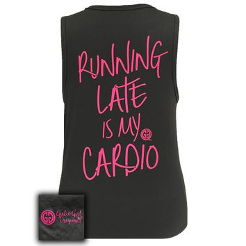 Girlie Girl Southern Originals Running Late is My Cardio Tank Top