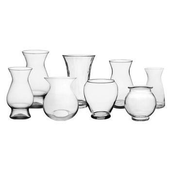 Case of 12 Clear Glass Garden Vase Collection - Ships Alone