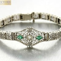 Ladies Vintage Art Deco 14K White Gold 0.04ctw Diamond Emerald Bracelet