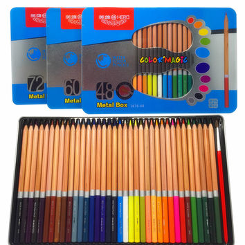 36 48 60 72 Colors Metal Box Wooden Watercolor Pencils lapis de cor Professional Colored Pencil for Artist Sketch
