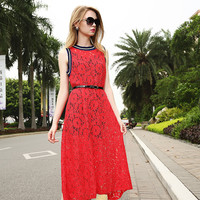 Red Floral Embroidery Mesh and Lace Maxi Belted Dress