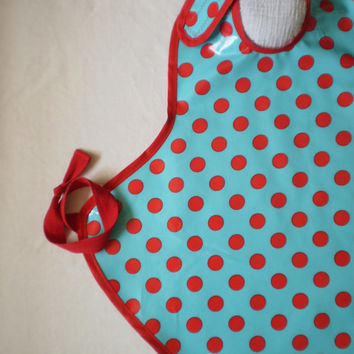 Art Smock in Aqua & Red Dot--Size 2T-5T--Designer Michael Miller Fabrics--CPSIA Compliant--Made to Order