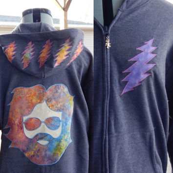 Upcycled Zip Up Hoodie Heathered Navy Grateful Dead Jerryt OOAK Womens Size XXL Recycled hoodie, OOAK hoodie,hippie clothes, full zip hoodie