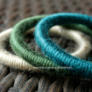 Three Yarn Wrapped Bangle Bracelets - Tan, Dark Green, and Dark Blue