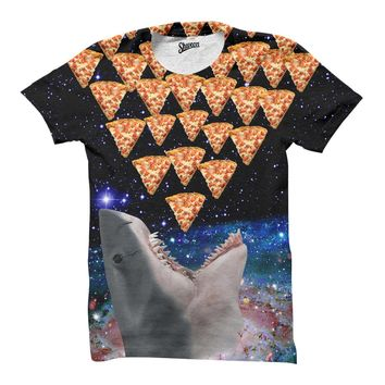 Galaxy Shark Pizza T shirt