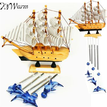 KiWarm 4 Tube Sailing Boat Dolphin Bells Wind Chimes Ornaments for Church Outdoor Garden Yard Home Hanging Decor Birthday Gift