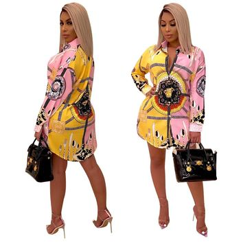 Fashion Retro Palace Print Loose Women Mini dress 2019 Hot Sale Summer New Full Sleeve Turn-Down Collar Single-Breasted