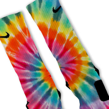 Tie-Dye Happy Customized Nike Elite Socks!!