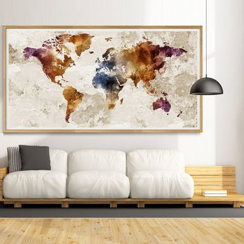 Watercolor World Map Art Print | Watercolor Map | Adventure Awaits | Home Decor Wall Art - L21
