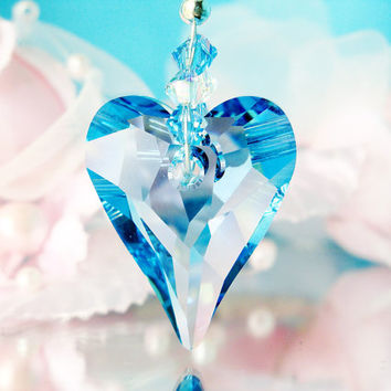 Rear View Mirror Charm Swarovski Aquamarine Blue Crystal Car Accessories