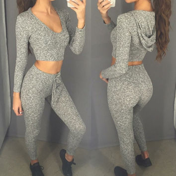 2016 Grey Leggings and Hooded Crop Top 2 Pieces Set = 5699047041
