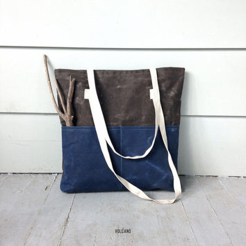 Handmade waxed canvas blue and tan tote bag with two large front pockets - Volcano Store