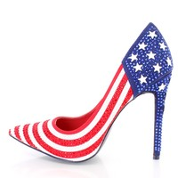 American Flag Star Studded Single Sole Pump Heels Fabric