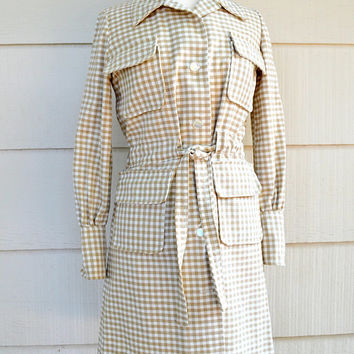 Vintage Coat Dress, Long Sleeve Belted Button Down Dress, Home Made, White and Tan Checked Twill Fabric, 1960s-1970s