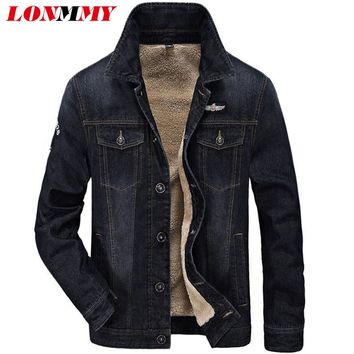 LONMMY Jeans jacket men velvet thickened liner warm Denim jacket men coats Air force 1 Casual Outerwear cowboy coats 2018 Winter