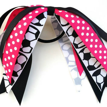 Hot pink and black soccer hair streamer, team hair bows, soccer ponytail ribbon hair tie, team sports, soccer bow, handball futbol team bow