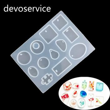 Mirror Water Drop Square Oval Silicone Mold Necklace Pendant Resin Jewelry Making Ornaments Mould DIY Hand Craft Epoxy Plate