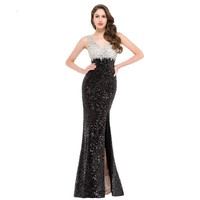 Mermaid Evening Dress Grace Karin Sparkle Black Evening Gowns Double V Neck Long Sequin Special Occasion Dresses Split
